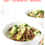 two bowls of beef and broccoli rice bowl