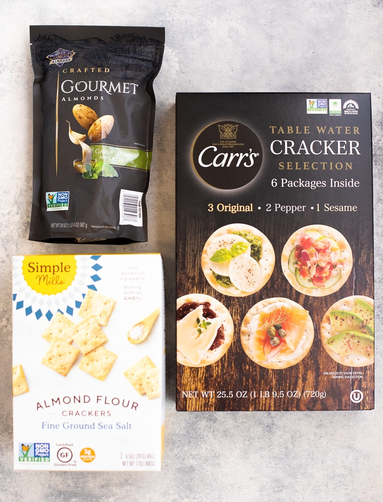 Crackers and almonds for Costco cheese board
