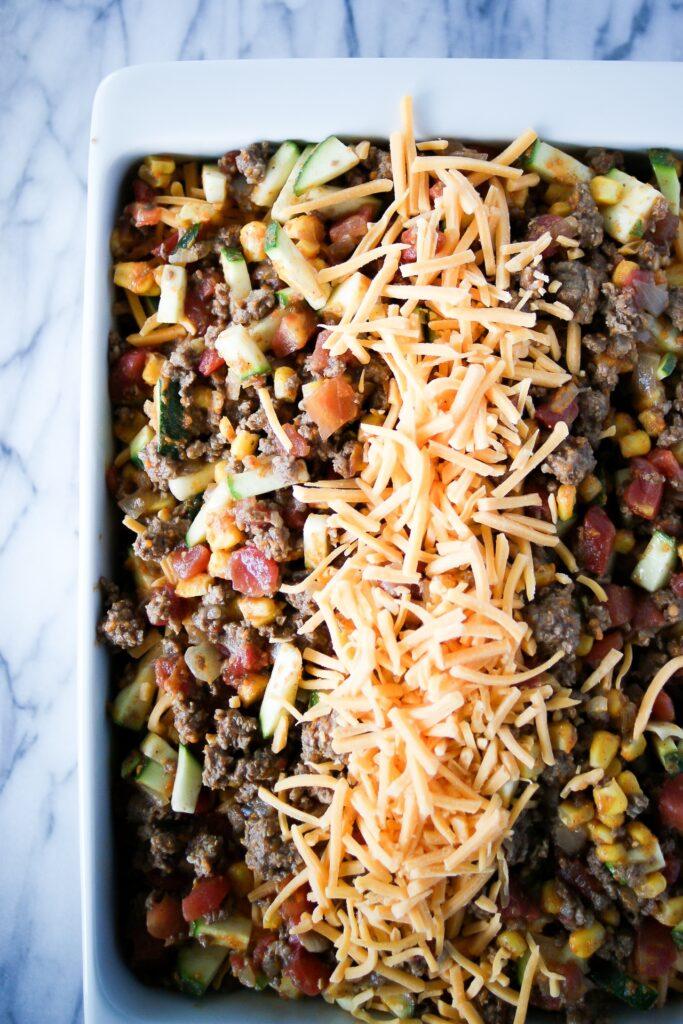 ground beef casserole in baking dish