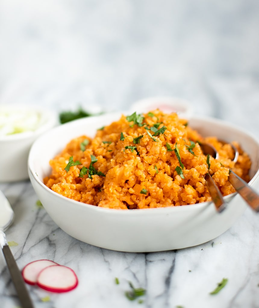 bowl of Mexican cauliflower rice skillet