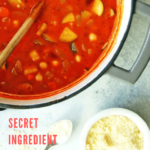 Healthy minestrone soup in a pot