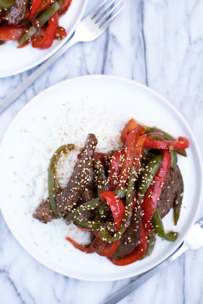 Pepper steak stir fry with rice