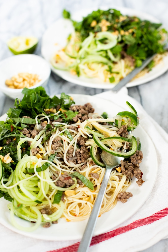 Thai ground beef noodle stir fry with fork
