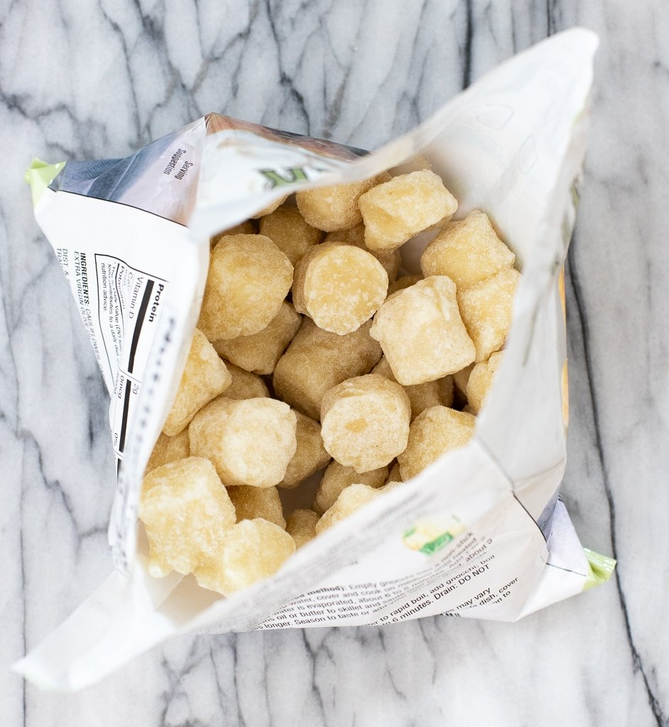 bag of Trader Joe's cauliflower gnocchi