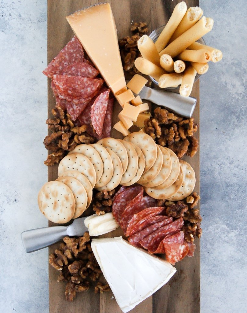 Trader Joe's cheese board for $20 has meats, cheese, crackers, and nuts