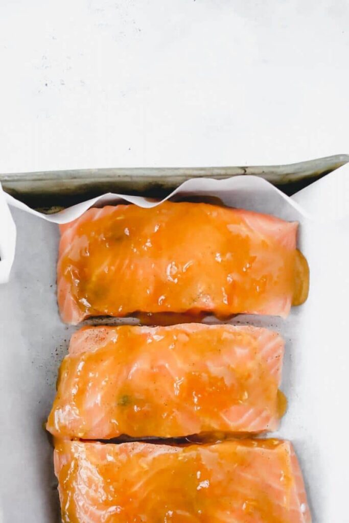 apricot glaze for salmon - in pan before baking