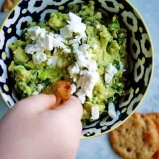 Avocado, Basil & Feta Spread is a delicious and nutritious spread perfect for veggie and cracker dipping! #avocadospread #healthydip #avocado