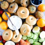 brunch platter with bagels and lox