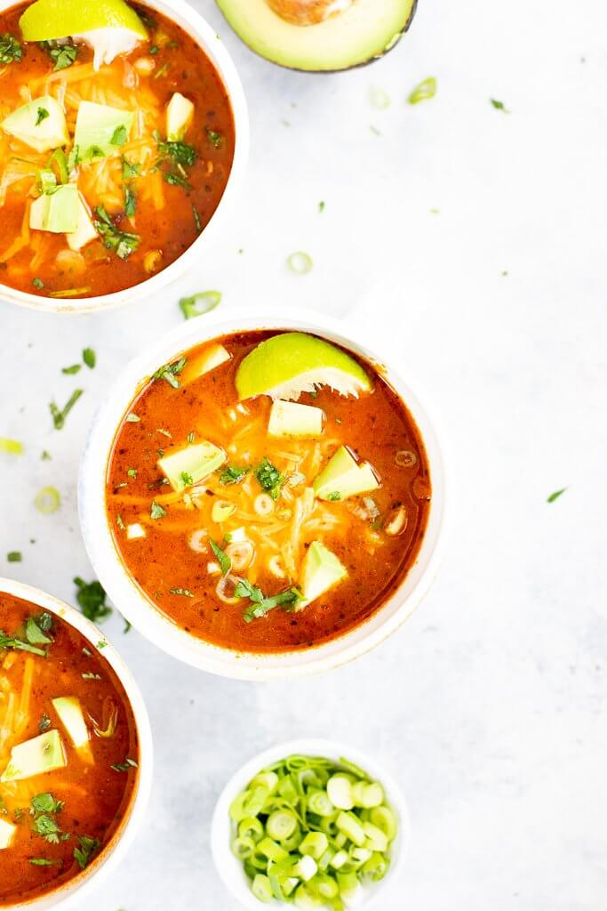 bowls of chicken taco soup