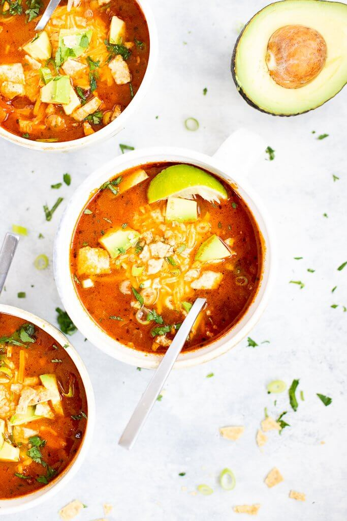 three bowls of easy chicken taco soup