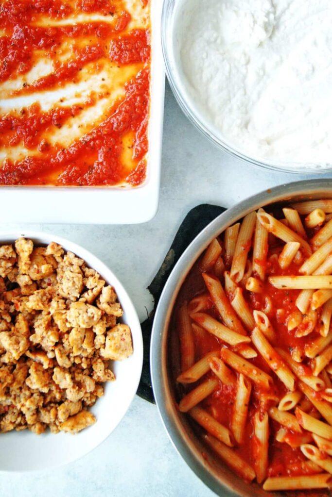 Easy Baked Ziti ingredients
