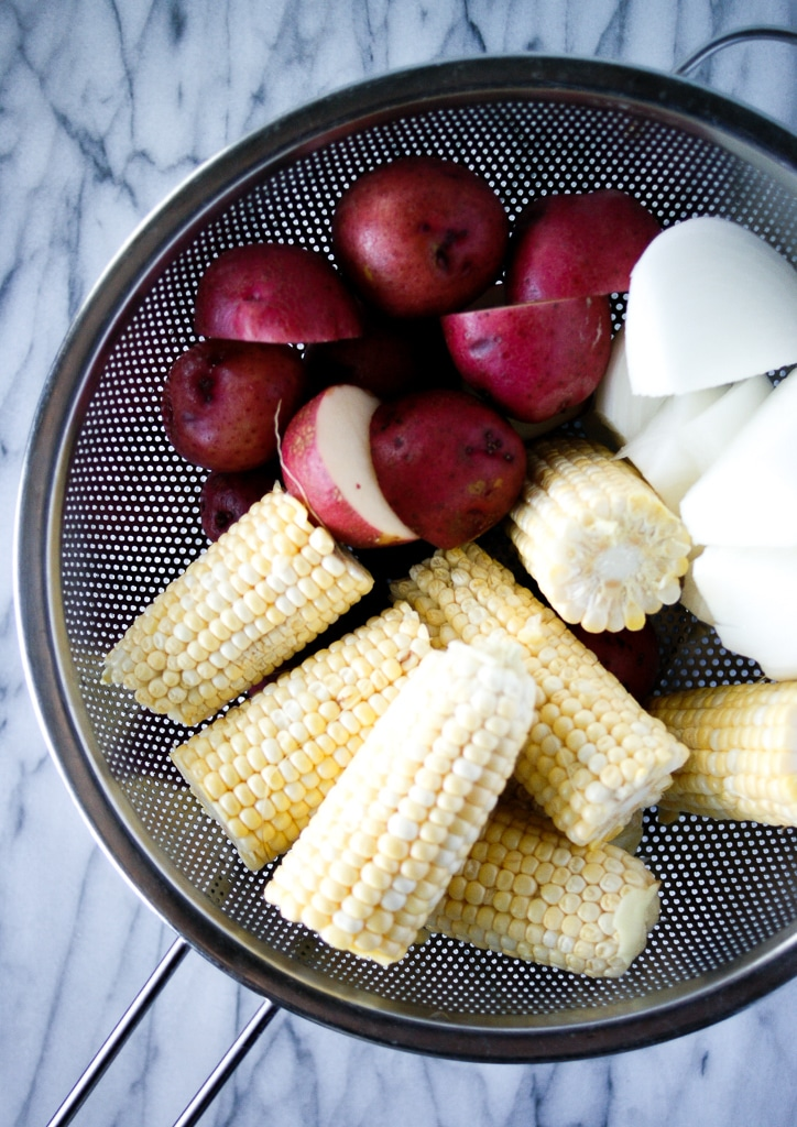 corn and potatoes for old bay shrimp boil