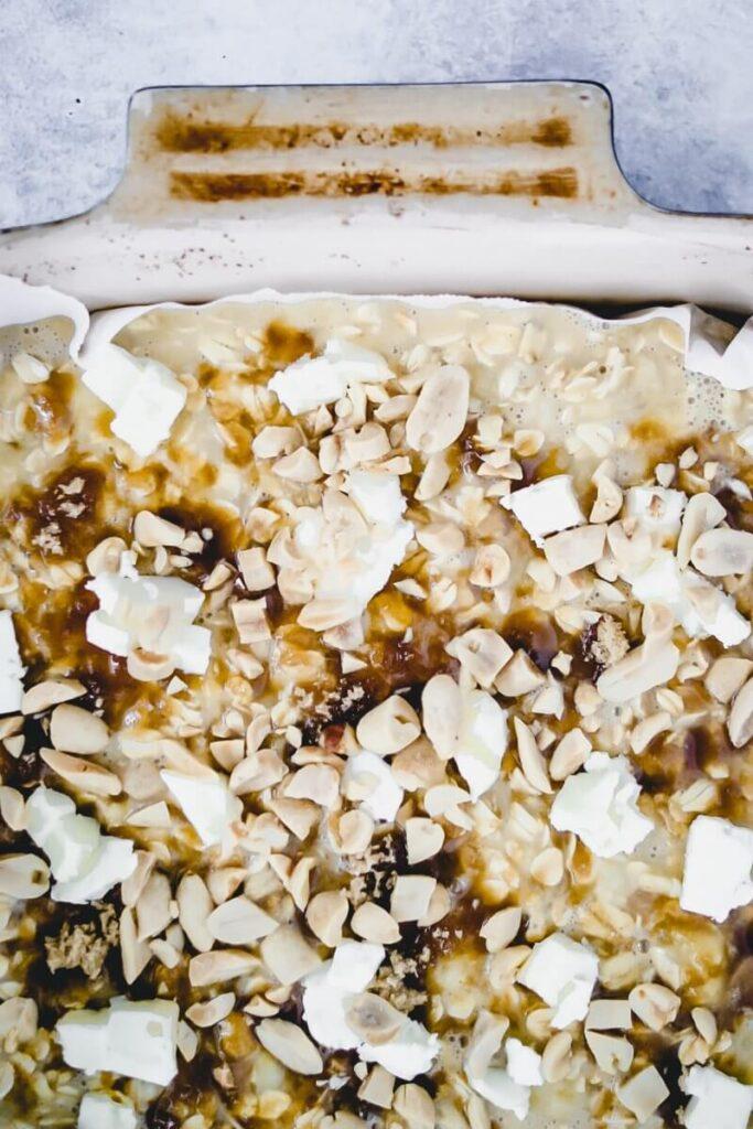 healthy baked oatmeal before baking