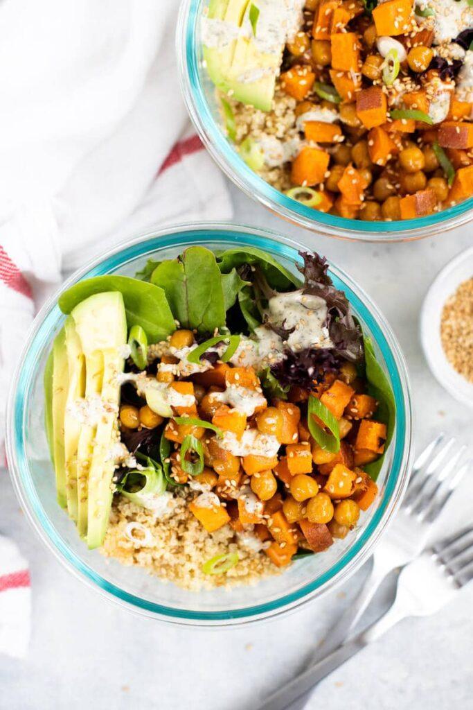 quinoa grain bowls with garbanzo beans and sweet potatoes