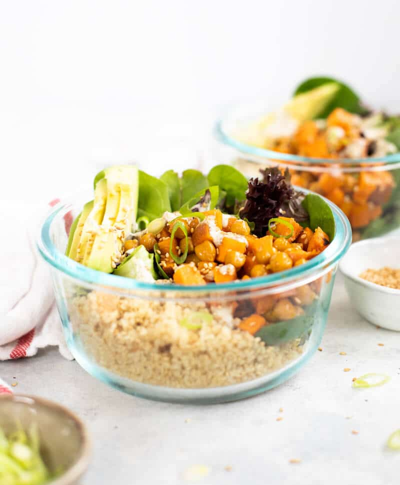 two bowls of quinoa meal prep