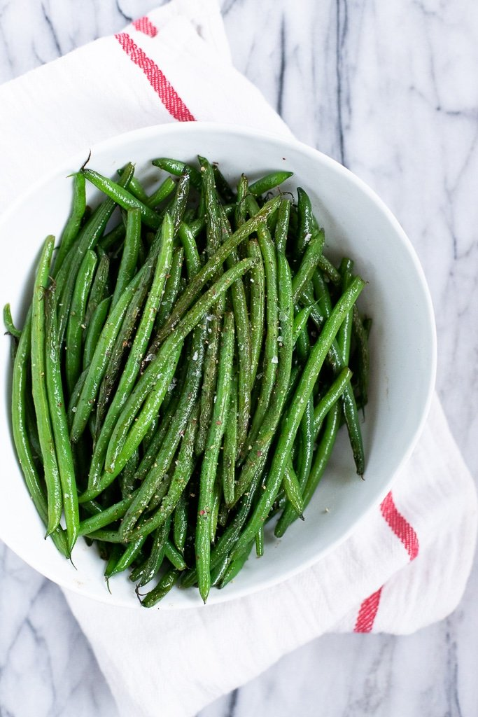 Bowl of sauteed haricots verts recipe
