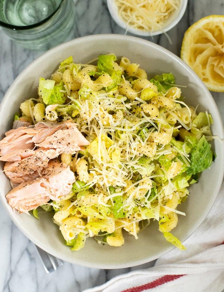 bowl of Caesar pasta salad with salmon