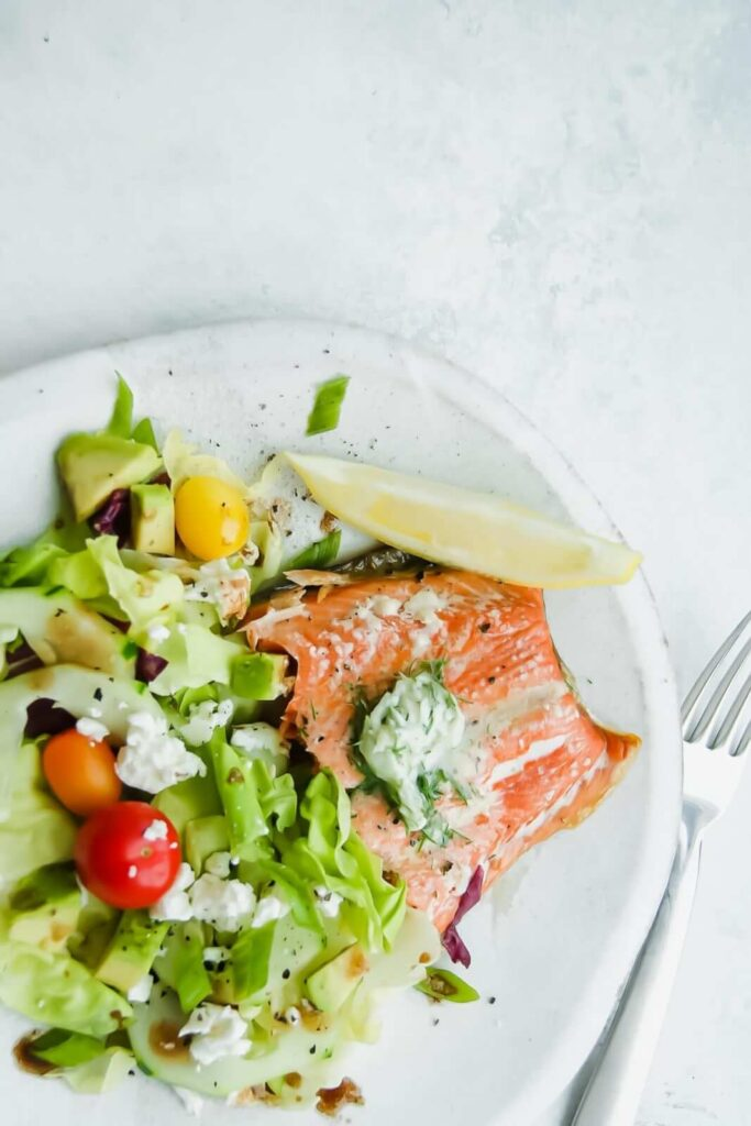 Plate of salmon with dill butter