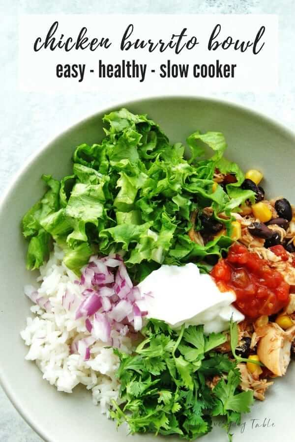 slow cooker chicken burrito bowl